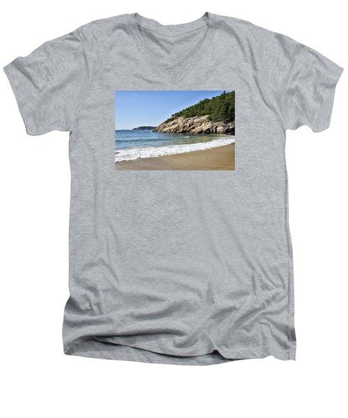 Sand Beach - Acadia National Park - Maine Men's V-Neck T-Shirt by Brendan Reals