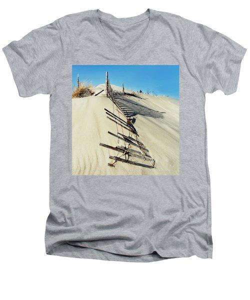 Sand Dune Fences And Shadows Men's V-Neck T-Shirt