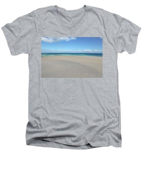 Sand Dune Ripples And The Ocean Beyond Men's V-Neck T-Shirt