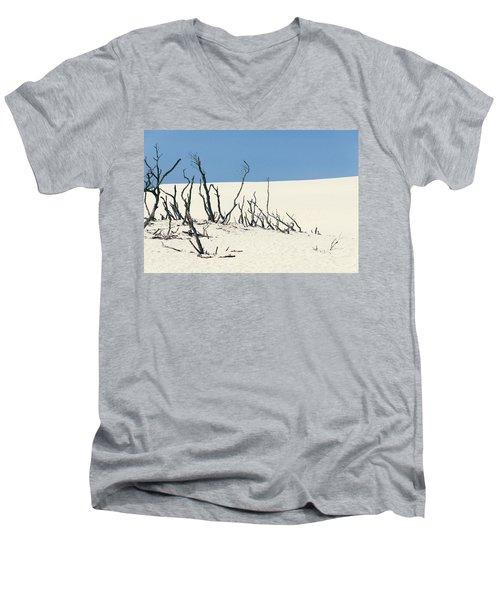 Sand Dune With Dead Trees Men's V-Neck T-Shirt by Chevy Fleet