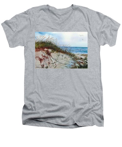 Sand Dunes And Sea Oats Men's V-Neck T-Shirt