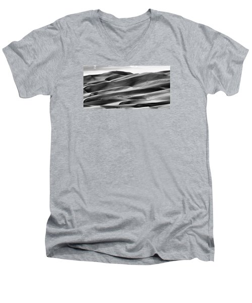 Men's V-Neck T-Shirt featuring the photograph Sand Dunes And Shadows by Monte Stevens