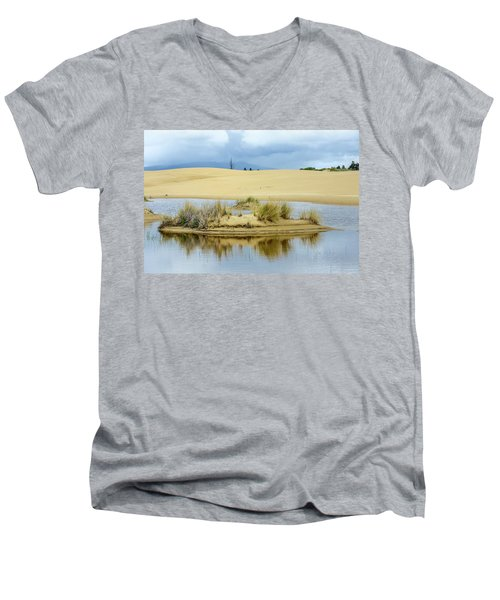 Sand Dunes And Water Men's V-Neck T-Shirt by Jerry Cahill