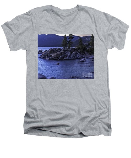 Sand Harbor South Men's V-Neck T-Shirt by Nancy Marie Ricketts