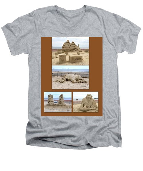 Sand Sculpture Collage Men's V-Neck T-Shirt