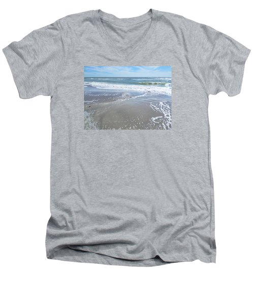 Sand, Sea, Sun, No. 3 Men's V-Neck T-Shirt by Ginny Schmidt