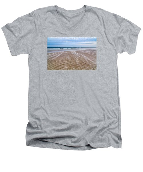 Men's V-Neck T-Shirt featuring the photograph Sand Swirls On The Beach by John M Bailey