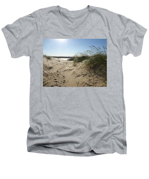 Sand Tracks Men's V-Neck T-Shirt by Tara Lynn