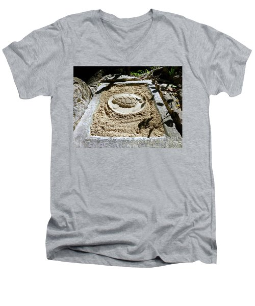Men's V-Neck T-Shirt featuring the photograph Sand Turtle Print by Francesca Mackenney