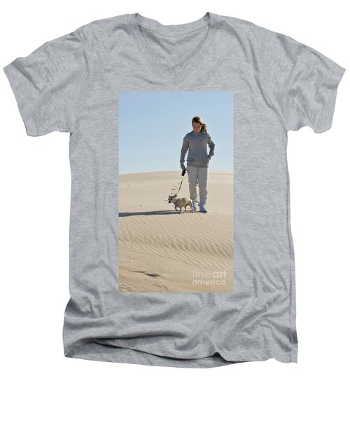 Men's V-Neck T-Shirt featuring the photograph Sand Walk by Tara Lynn