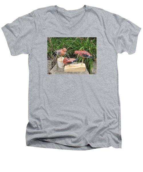 Sanderling Trio Men's V-Neck T-Shirt by Kevin F Heuman