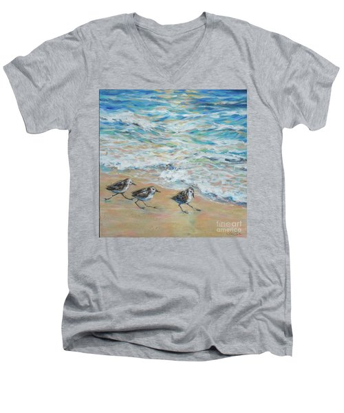 Sanderlings Running Men's V-Neck T-Shirt by Linda Olsen