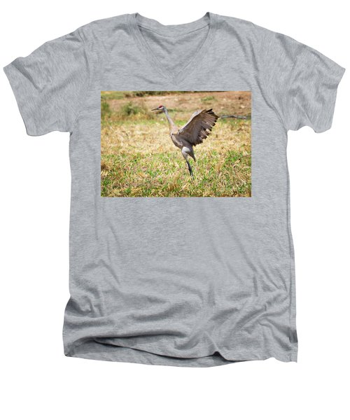 Men's V-Neck T-Shirt featuring the photograph Sandhill Crane Morning Stretch by Ricky L Jones