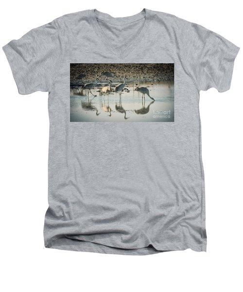 Sandhill Crane Reflections Men's V-Neck T-Shirt