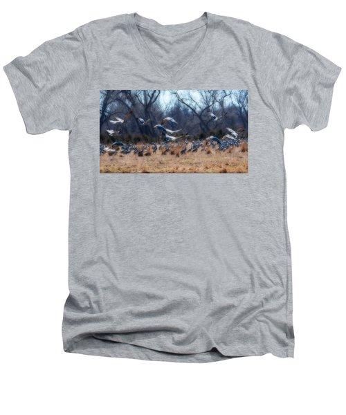 Sandhill Crane Taking Flight Men's V-Neck T-Shirt