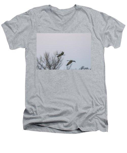 Sandhill Cranes Flying Men's V-Neck T-Shirt