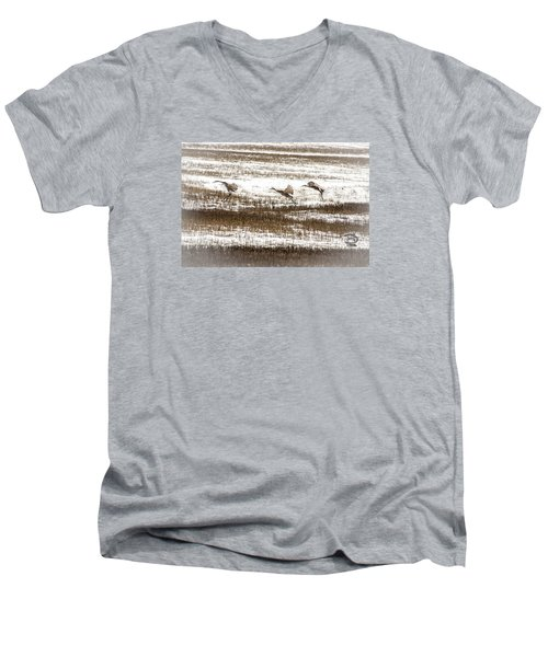Men's V-Neck T-Shirt featuring the photograph Sandhill Touch Down by Daniel Hebard