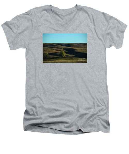 Men's V-Neck T-Shirt featuring the photograph Sandhills Hills by Mark McReynolds