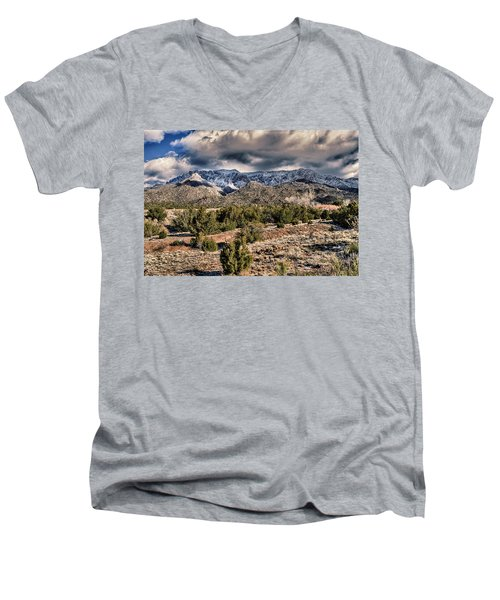 Men's V-Neck T-Shirt featuring the photograph Sandia Mountain Landscape by Alan Toepfer