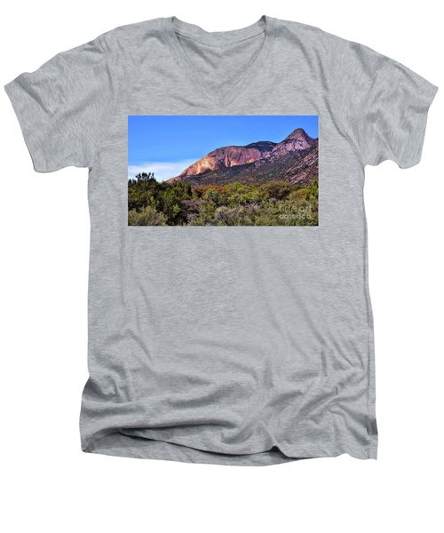 Men's V-Neck T-Shirt featuring the photograph Sandia Sunset by Gina Savage