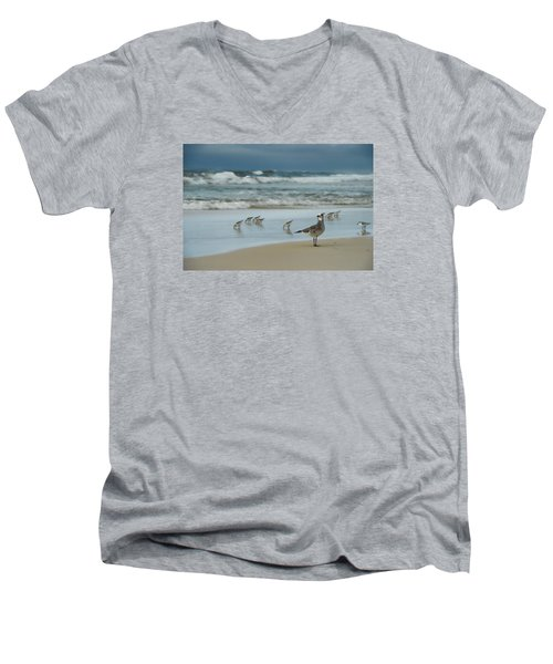 Men's V-Neck T-Shirt featuring the photograph Sandpiper Beach by Renee Hardison