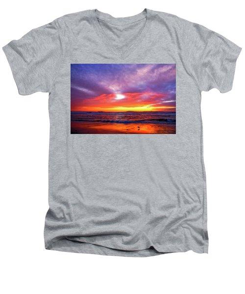 Sandpiper Sunset Ventura California Men's V-Neck T-Shirt