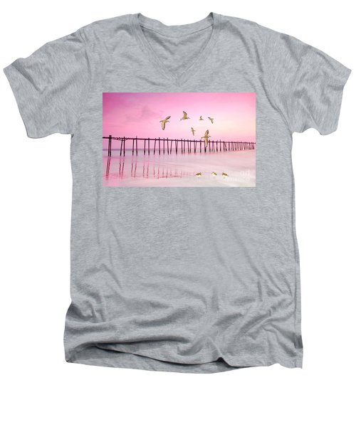 Sandpiper Sunset Men's V-Neck T-Shirt
