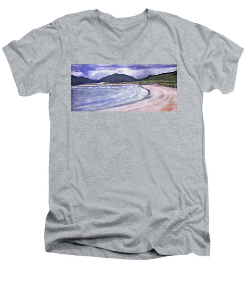 Men's V-Neck T-Shirt featuring the painting Sands, Harris by Richard James Digance