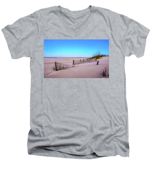 Sand  Fences On The Bogue Banks Men's V-Neck T-Shirt by John Harding