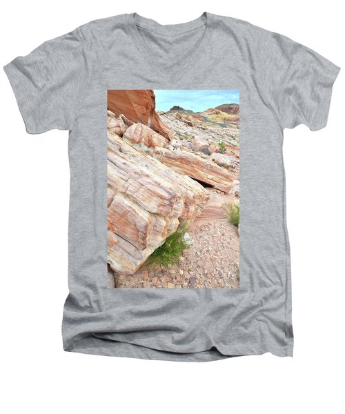 Men's V-Neck T-Shirt featuring the photograph Sandstone Along Park Road In Valley Of Fire by Ray Mathis