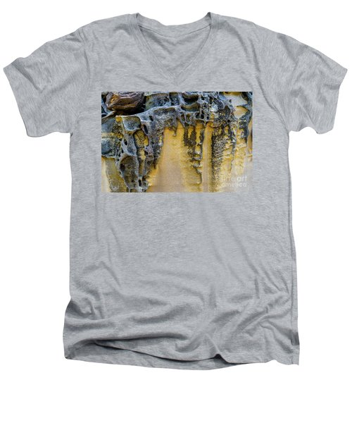 Men's V-Neck T-Shirt featuring the photograph Sandstone Detail Syd01 by Werner Padarin