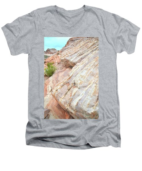 Men's V-Neck T-Shirt featuring the photograph Sandstone Feet In Valley Of Fire by Ray Mathis