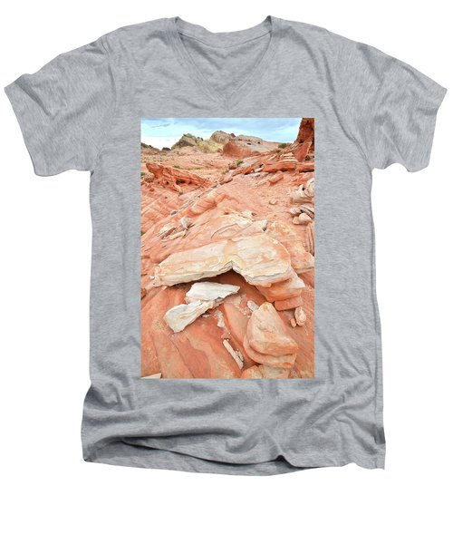Men's V-Neck T-Shirt featuring the photograph Sandstone Heart In Valley Of Fire by Ray Mathis