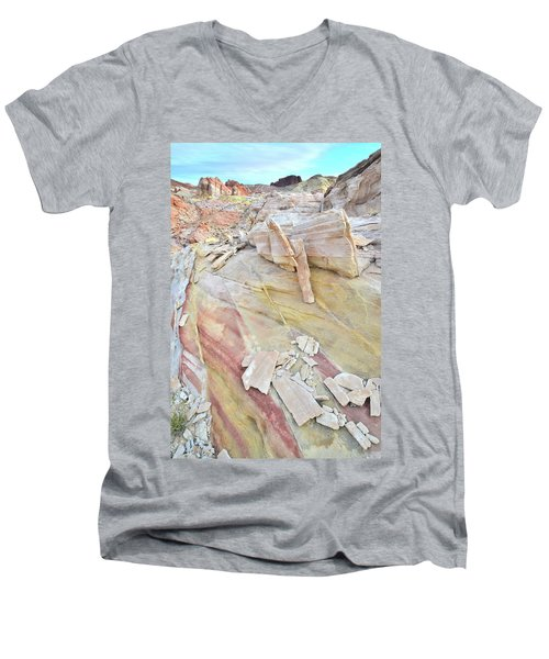 Sandstone Rainbow In Valley Of Fire Men's V-Neck T-Shirt by Ray Mathis