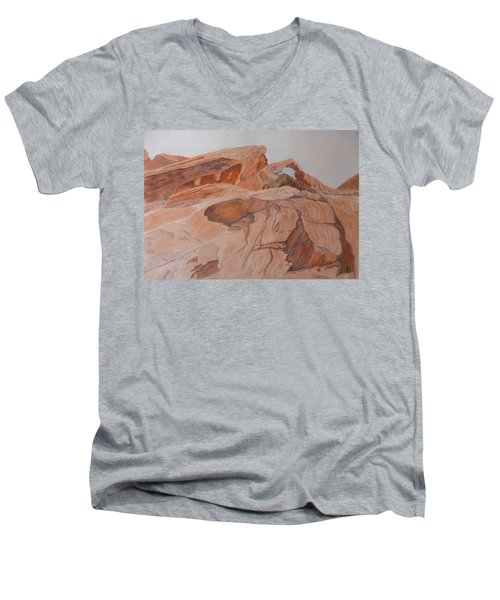 Men's V-Neck T-Shirt featuring the painting Sandstone Rainbow by Joel Deutsch