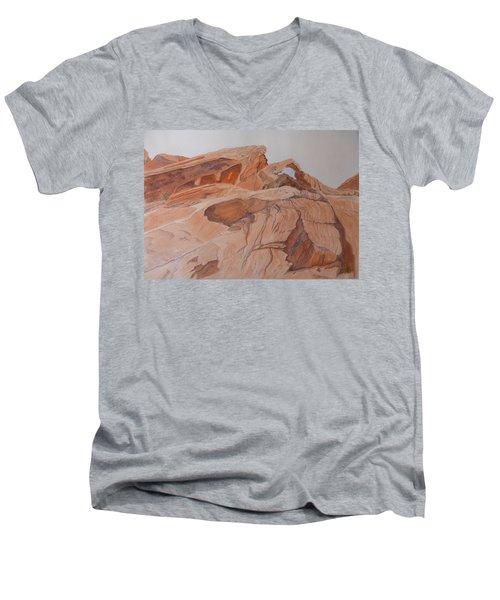 Men's V-Neck T-Shirt featuring the painting Sandstone Rainbow by Joel Deutsch
