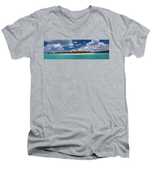 Men's V-Neck T-Shirt featuring the photograph Sandy Cay Beach British Virgin Islands Panoramic by Adam Romanowicz