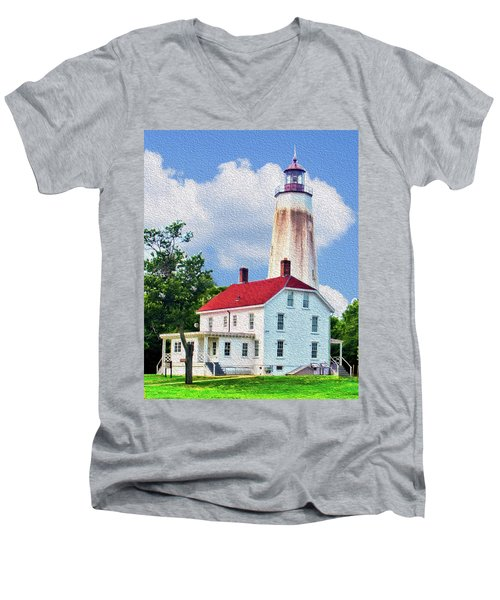 Sandy Hook Light House Men's V-Neck T-Shirt