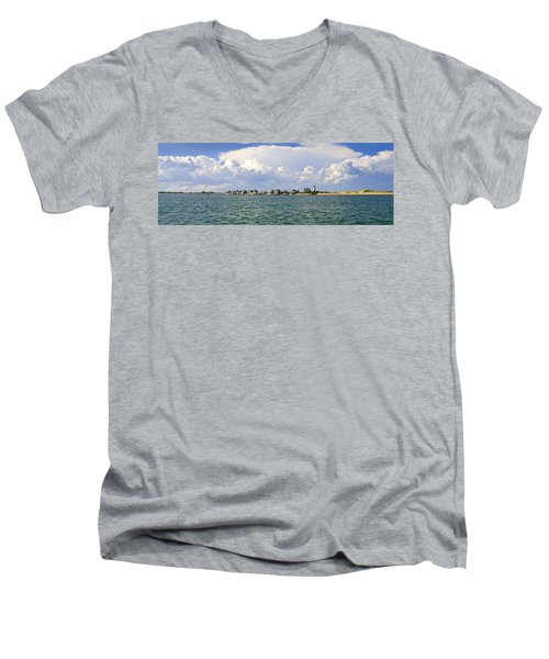 Sandy Neck Cottage Colony Men's V-Neck T-Shirt by Charles Harden