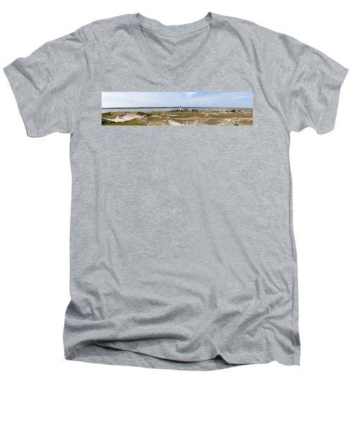Sandy Neck Lighthouse With Fishing Boat Men's V-Neck T-Shirt