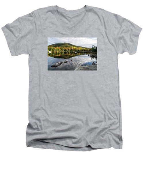 Reflection Sandy Stream Pond Me. Men's V-Neck T-Shirt by Michael Hubley