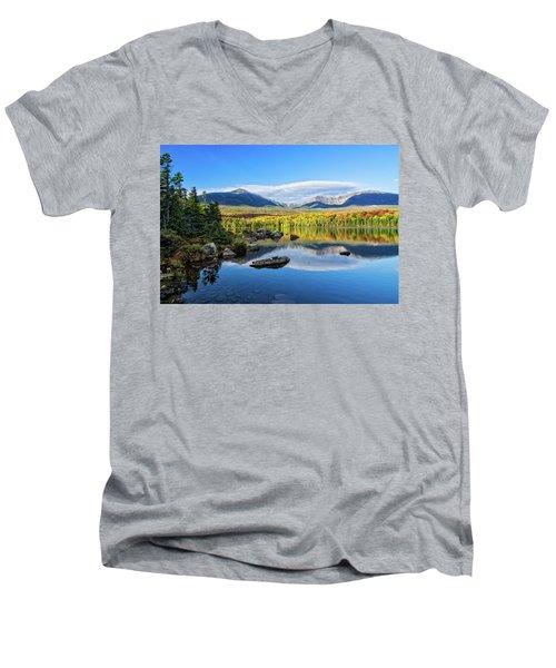 Sandy Stream Pond Baxter Sp Maine Men's V-Neck T-Shirt by Michael Hubley