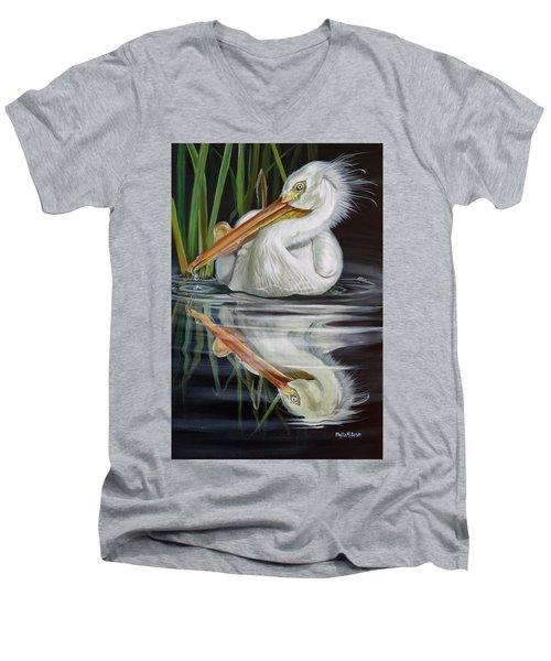 Sandy's Pelican Men's V-Neck T-Shirt by Phyllis Beiser
