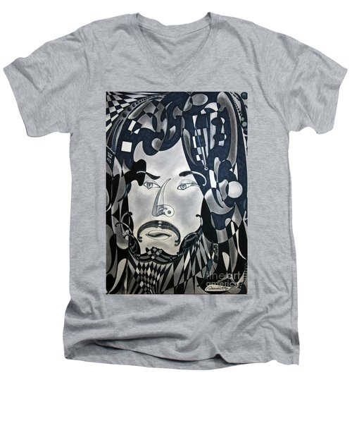 Men's V-Neck T-Shirt featuring the drawing Sansonetti Man by Gino Sansonetti