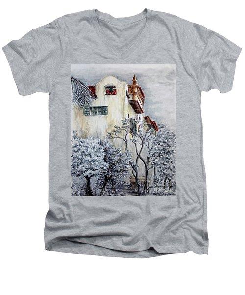 Santa Barbara Courthouse Bell Tower Men's V-Neck T-Shirt