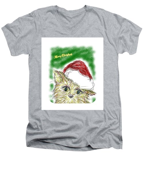 Santa Cat Men's V-Neck T-Shirt