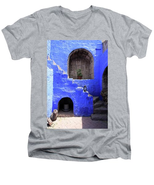 Men's V-Neck T-Shirt featuring the photograph Santa Catalina Monastery, Arequipa, Peru by Aidan Moran