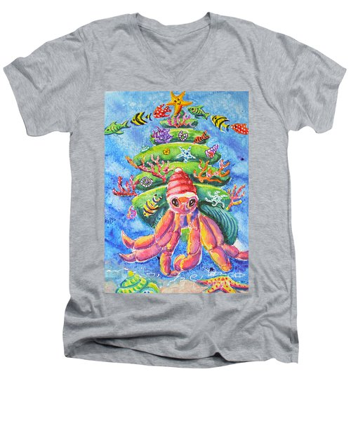 Santa Crab Men's V-Neck T-Shirt by Li Newton
