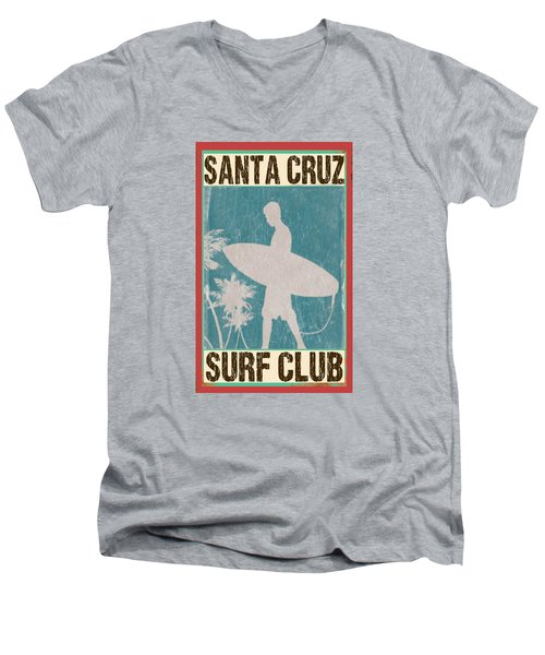 Men's V-Neck T-Shirt featuring the digital art Santa Cruz Surf Club by Greg Sharpe