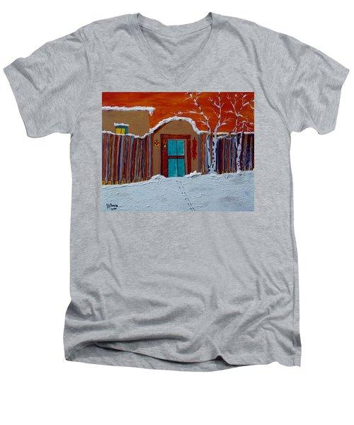 Men's V-Neck T-Shirt featuring the photograph Santa Fe Snowstorm by Joseph Frank Baraba